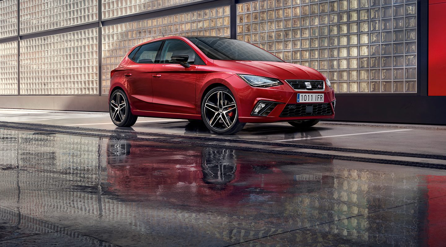 New SEAT Ibiza lateral view red background