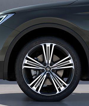 """SEAT Tarraco, der Grossraum-SUV mit 20""""-Hochglanzfelgen der Vorderräder in Matt"""