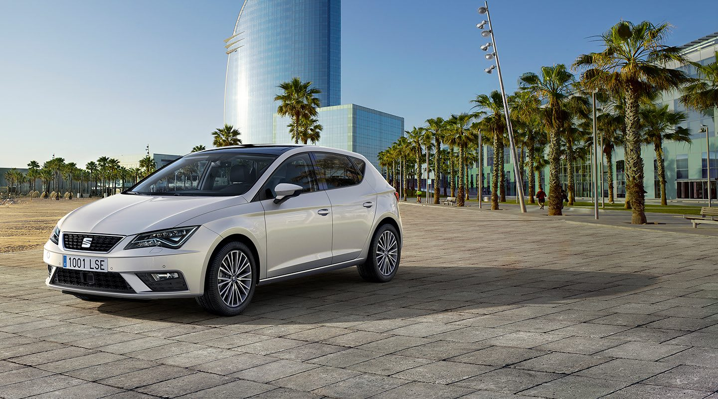 SEAT Leon car at Barcelona beach