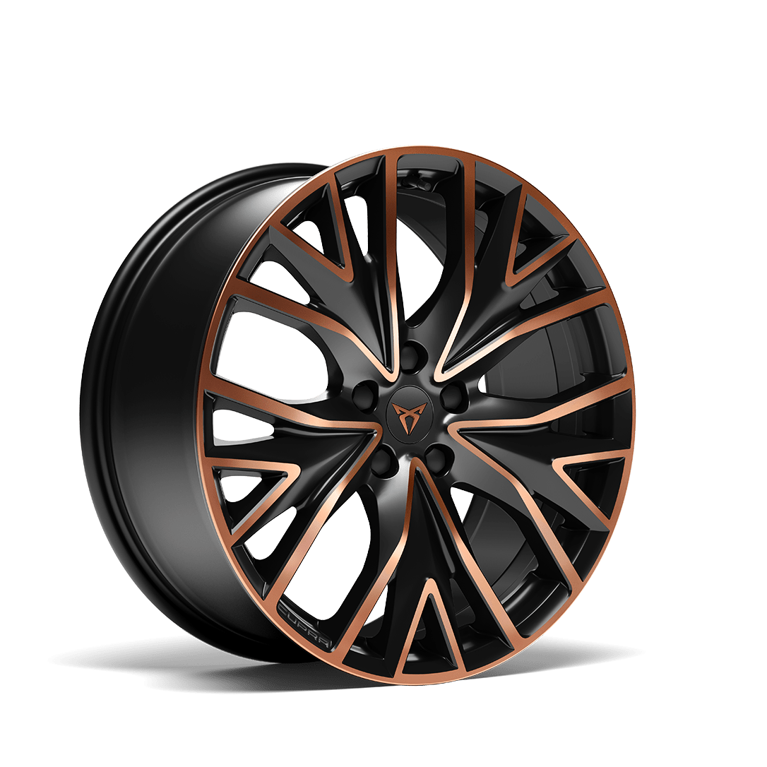 """new CUPRA Leon Sportstourer ehybrid Family Sports Car available with 19"""" Performance Alloy wheels in Black Satin and Copper"""