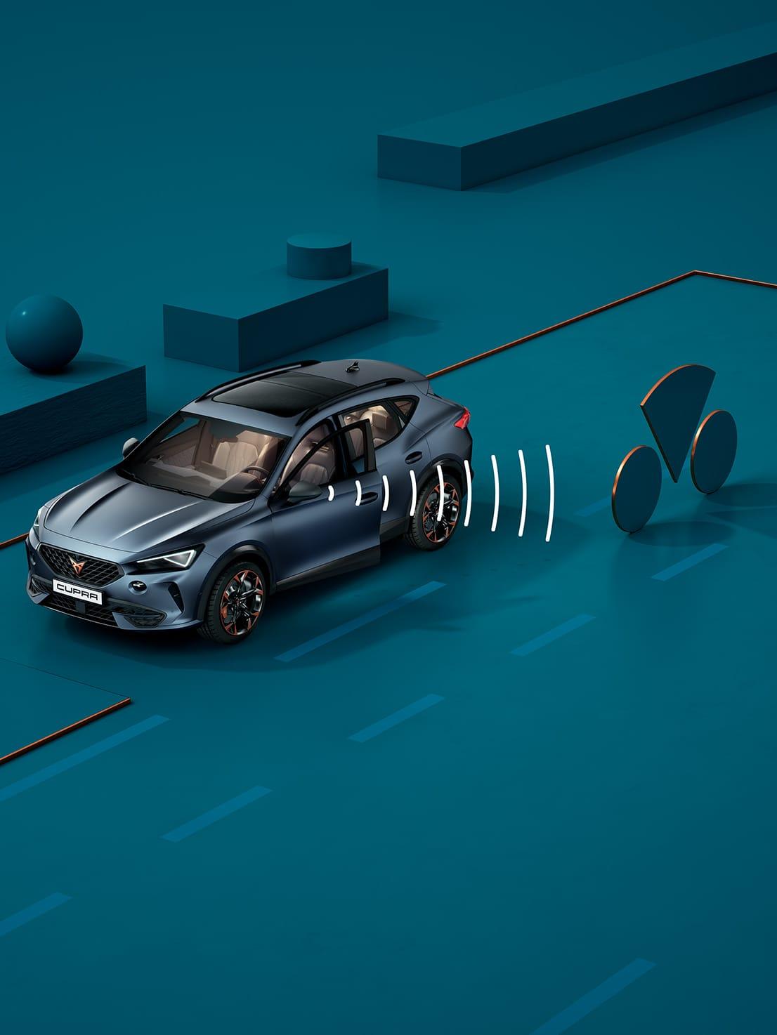 Nouvelle CUPRA Leon 5 portes ehybrid voiture de sport compacte avec fonction exit warning
