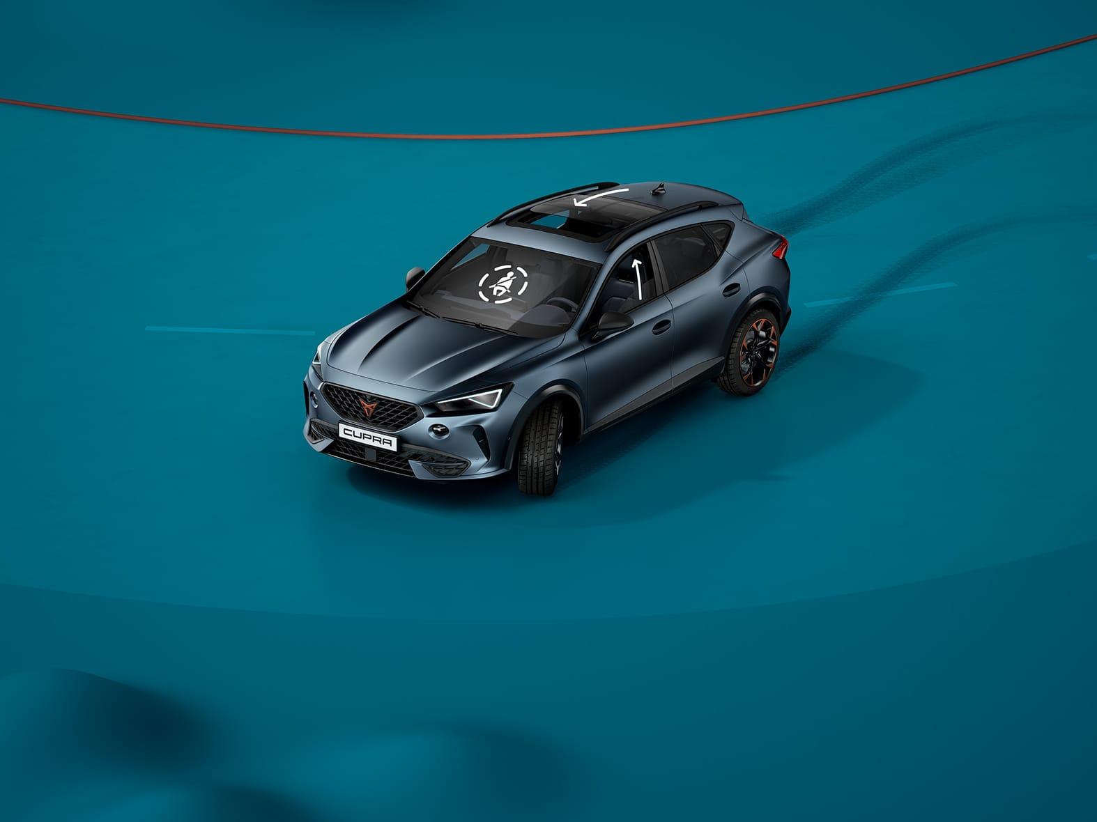 Nouvelle CUPRA Leon 5 portes ehybrid voiture de sport compacte avec assistant pré-collision