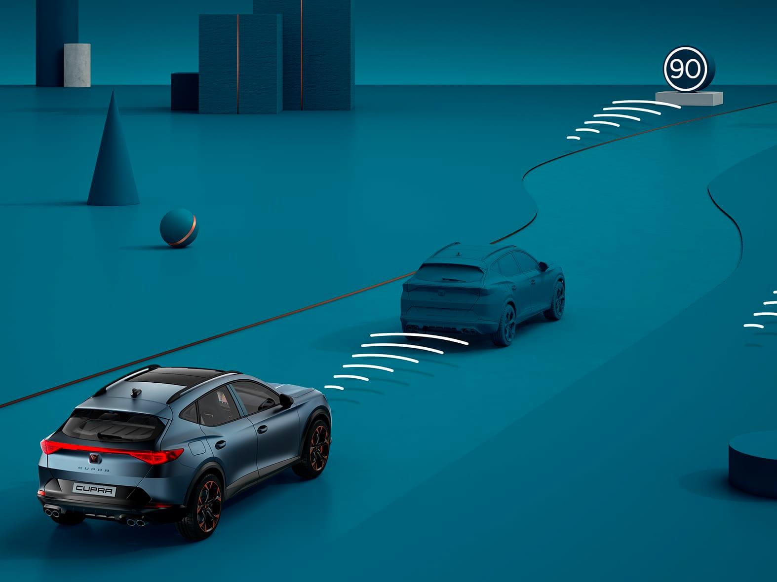 Nouvelle CUPRA Leon 5 portes ehybrid voiture de sport compacte fonctions de sécurité acc prédictif