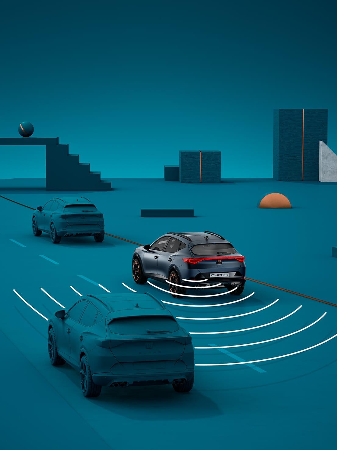 Neuer CUPRA Leon eHybrid Fünftürer Kompaktsportwagen mit Sicherheitssystemen wie Ausstiegsassistent