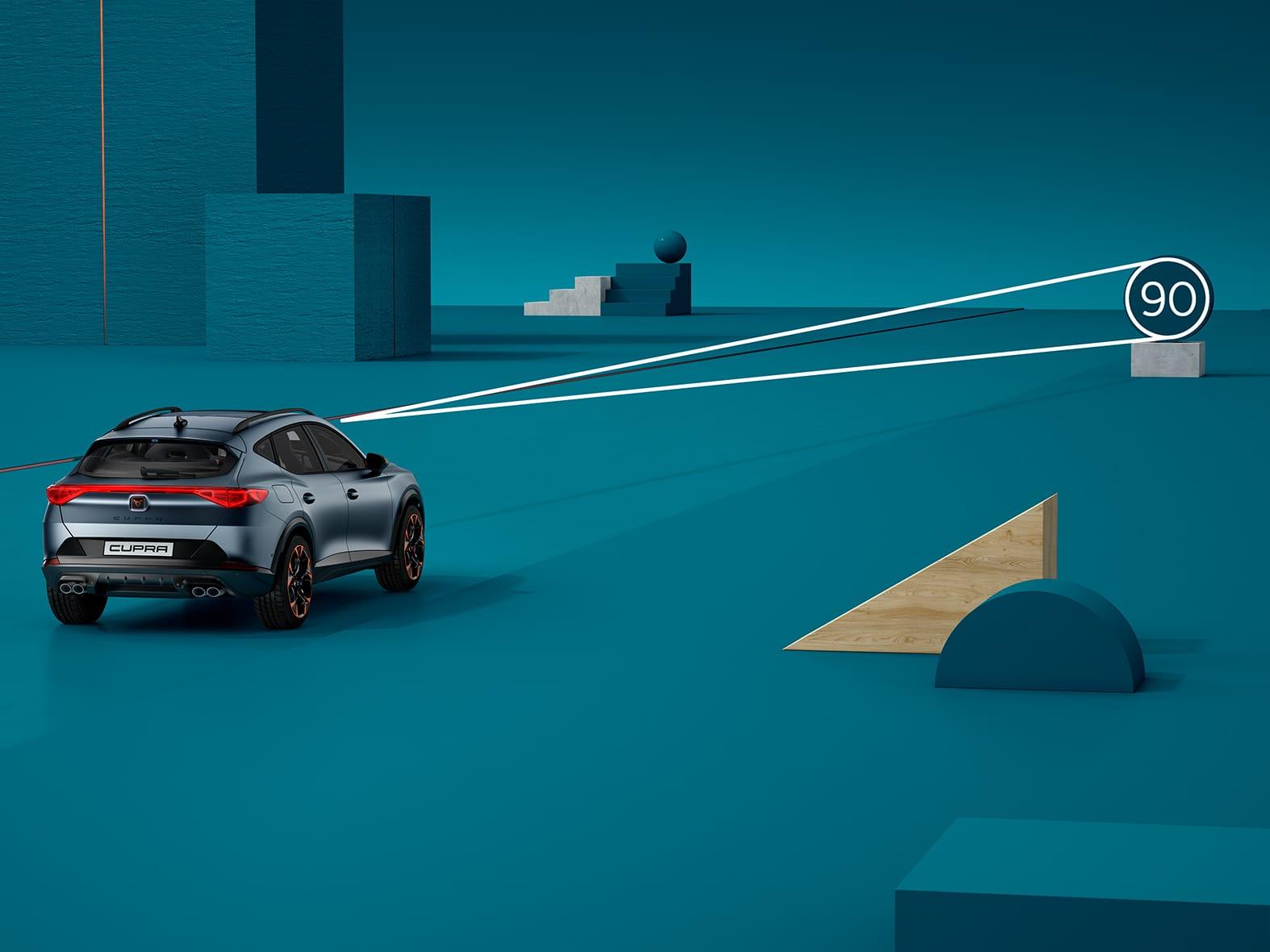 Neuer CUPRA Leon eHybrid Fünftürer Kompaktsportwagen mit Sicherheitssystemen wie Verkehrszeichenerkennung