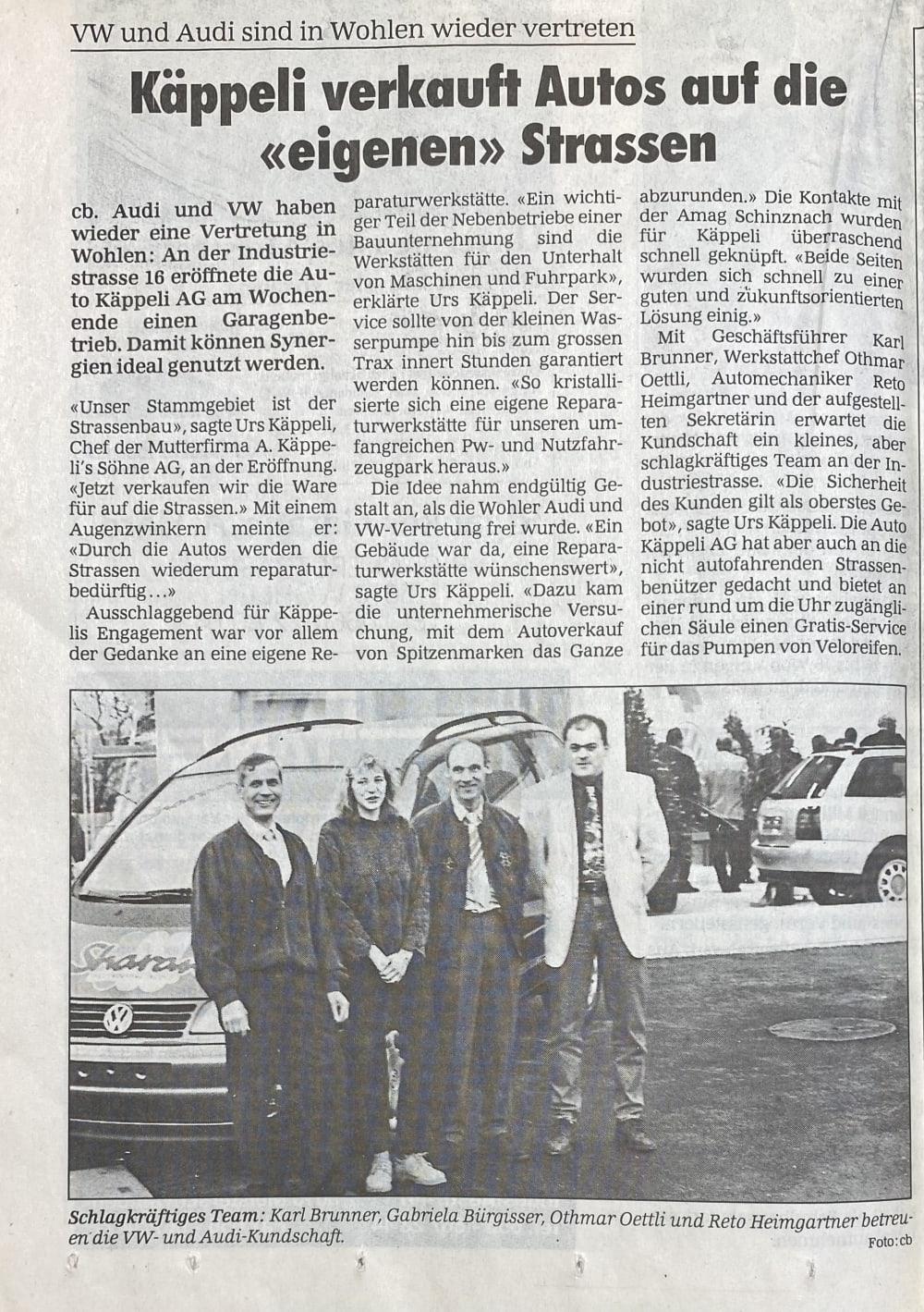 1996 Zeitungsbericht Eröffnung