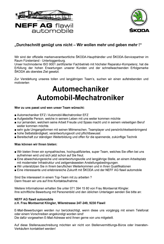 Inserat Automechaniker-Automobil-Mechatroniker_05.2017