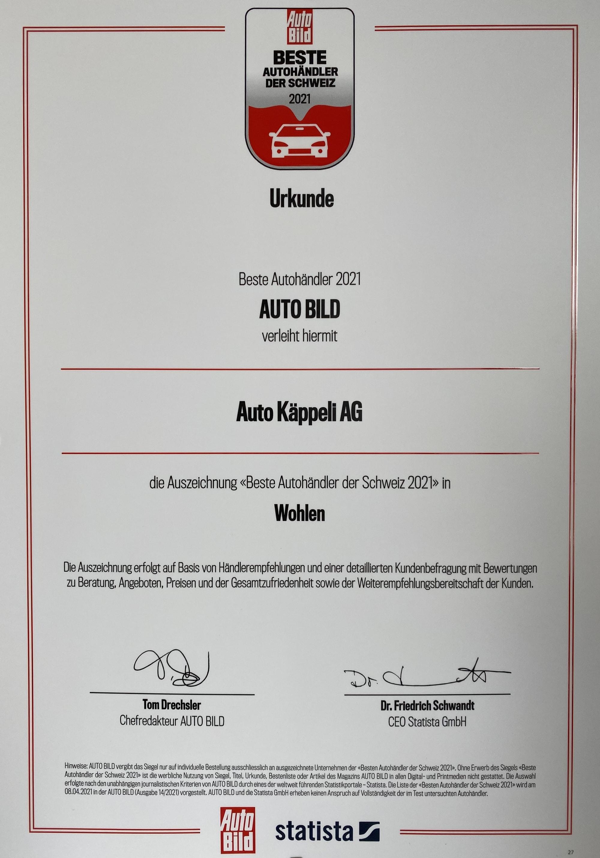 Beste Autohändler Auszeichnung