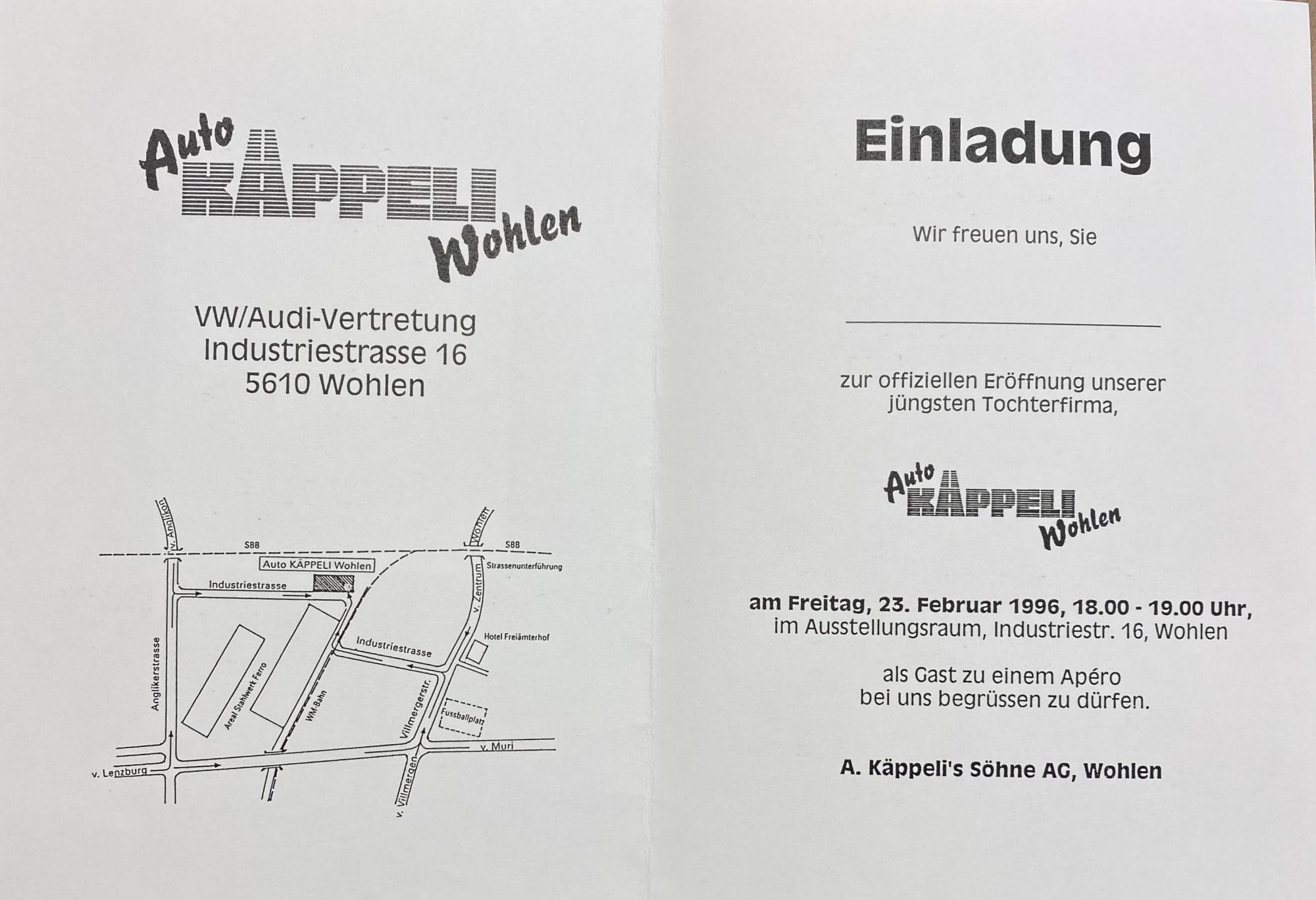1996 Einladung Eröffnung